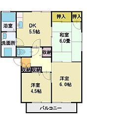 埼玉県ふじみ野市長宮2丁目の賃貸アパートの間取り