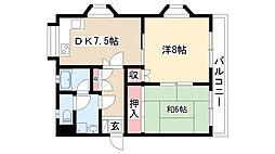 愛知県名古屋市瑞穂区彌富町字紅葉園5丁目の賃貸マンションの間取り
