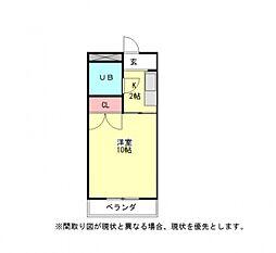 愛知県一宮市大和町妙興寺字三十八社前の賃貸アパートの間取り