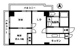 日商岩井西公園マンション[402号室]の間取り