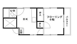 埼玉県さいたま市中央区上峰2丁目の賃貸アパートの間取り