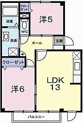 ドミール加茂[1階]の間取り