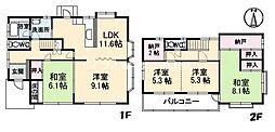[一戸建] 岡山県倉敷市沖新町丁目なし の賃貸【/】の間取り