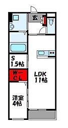 JR篠栗線 原町駅 徒歩23分の賃貸マンション 2階1SLDKの間取り