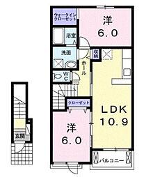 近鉄山田線 斎宮駅 徒歩16分の賃貸アパート 2階2LDKの間取り