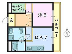 奈良県大和郡山市柳5丁目の賃貸アパートの間取り