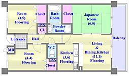 井吹東シティコート[1階]の間取り