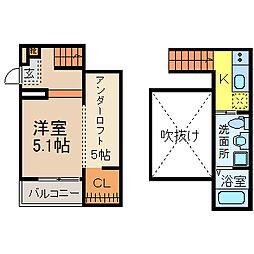 名古屋市営東山線 高畑駅 徒歩11分の賃貸アパート 2階ワンルームの間取り