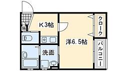 南海線 春木駅 徒歩9分の賃貸アパート 2階1Kの間取り
