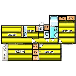 フラッツB・O[3階]の間取り