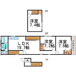 [テラスハウス] 兵庫県尼崎市西立花町2丁目 の賃貸【/】の間取り