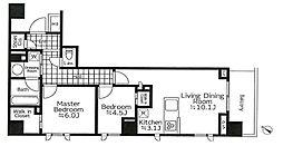 都営浅草線 高輪台駅 徒歩3分の賃貸マンション 4階2LDKの間取り