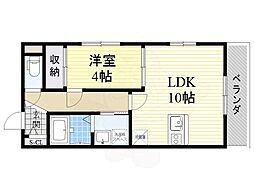 阪急千里線 山田駅 徒歩11分の賃貸マンション 2階1LDKの間取り
