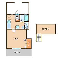 オータムハイツ[1階]の間取り