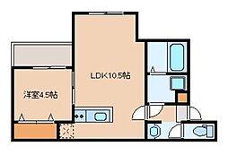 リテラ吉塚東 2階1LDKの間取り