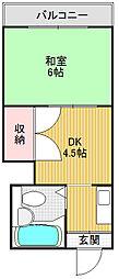 大阪府大阪市東成区大今里南6丁目の賃貸マンションの間取り