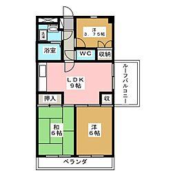 サンコート椙田 1階3LDKの間取り