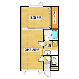 ラピュタハウスB[B6号室]の間取り