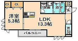 兵庫県伊丹市瑞穂町5丁目の賃貸アパートの間取り