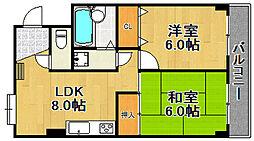 兵庫県宝塚市川面1丁目の賃貸マンションの間取り