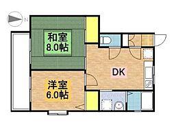 千葉県野田市山崎梅の台の賃貸アパートの間取り