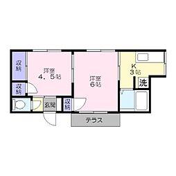 山崎アパート[102号室]の間取り