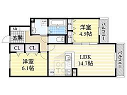 メルヴェイユ泉 3階2LDKの間取り