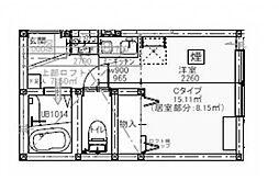 プライムテラス小田急相模原IB棟 2階ワンルームの間取り
