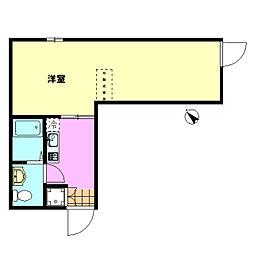 東武東上線 下赤塚駅 徒歩7分の賃貸アパート 1階1Kの間取り