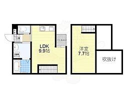 京阪本線 香里園駅 徒歩22分の賃貸アパート 1階1LDKの間取り