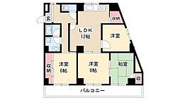 愛知県名古屋市瑞穂区大殿町3丁目の賃貸マンションの間取り