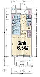 レシオス大阪城公園 13階1Kの間取り