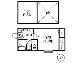 ポラリス愛宕II・初期費用8万円以内・[101号号室]の間取り