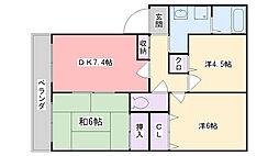 福岡県福岡市早良区田村6丁目の賃貸アパートの間取り