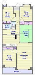 兵庫県神戸市垂水区学が丘3丁目の賃貸マンションの間取り