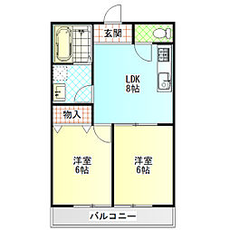 小田原市小船アパートB棟[201号室]の間取り