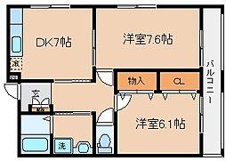 兵庫県神戸市兵庫区平野町字天王谷東服の賃貸アパートの間取り
