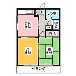 ゴッドバレー富塚[2階]の間取り