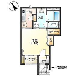 仮)日立市南高野町アパート 1階1Kの間取り