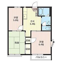 フラワ−ヒルズA[2階]の間取り