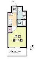 阪急京都本線 上新庄駅 徒歩3分の賃貸マンション 2階1Kの間取り