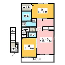 カレント ヒガシウズラ B II[2階]の間取り