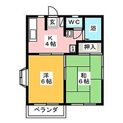 ベルフィーユメゾン[1階]の間取り