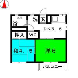 ハイツエステート[1階]の間取り