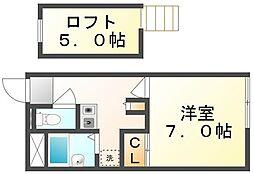 JR高徳線 志度駅 徒歩21分の賃貸アパート 1階1Kの間取り