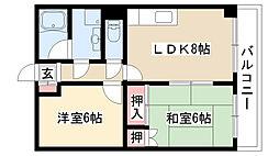 愛知県名古屋市南区鶴見通6丁目の賃貸マンションの間取り