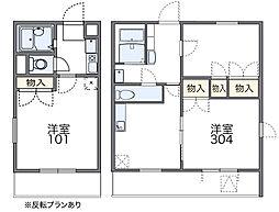 近鉄長野線 河内長野駅 徒歩24分の賃貸マンション 2階1Kの間取り