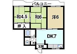 パディーフィールド21 4階3DKの間取り