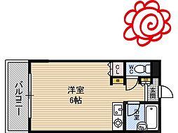 JR片町線(学研都市線) 徳庵駅 徒歩4分の賃貸マンション 2階ワンルームの間取り