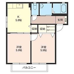 サウスーU[2階]の間取り